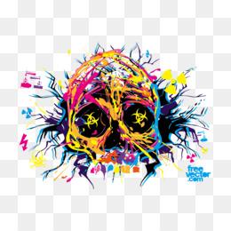 Graphic Clip Art Skull Glitter Splat Floral Leopard watercolor Skull PNG Digital Download