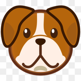 Bulldog head in red collar, Clip Art free image