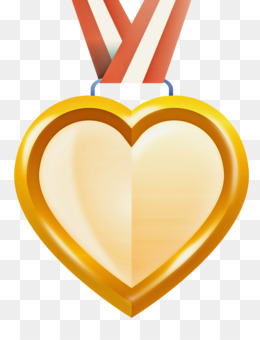 heart gold medal badge