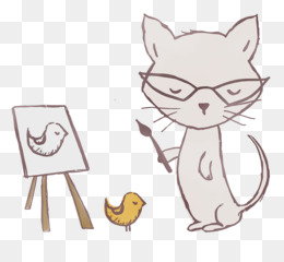 cat kitten paw whiskers line art