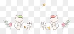 line art cat-like character flower line
