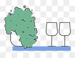 cartoon green line tree meter